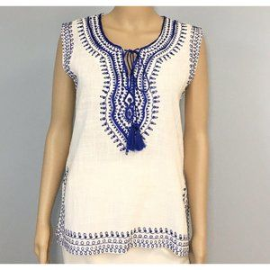 Solitaire Tunic Top Size Small White Blue Tassels